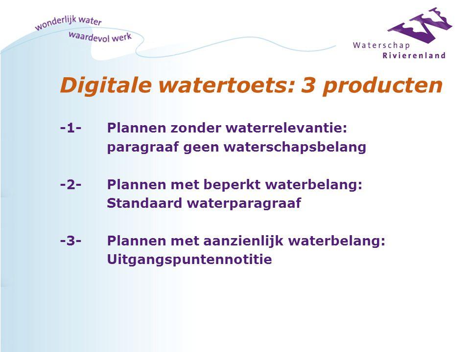 Digitale watertoets: 3 producten -1-Plannen zonder waterrelevantie: paragraaf geen waterschapsbelang -2-Plannen met beperkt waterbelang: Standaard waterparagraaf -3-Plannen met aanzienlijk waterbelang: Uitgangspuntennotitie