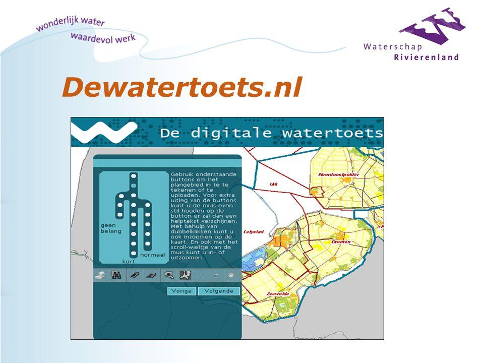 Digitale watertoets Indien verkorte procedure : -Standaard (positief) wateradvies/ waterparagraaf per e-mail; -Watertoetsprocedure in principe afgerond; -Waterschap kan het plan eventueel nog 'controleren' in het kader van het vooroverleg (Bro)