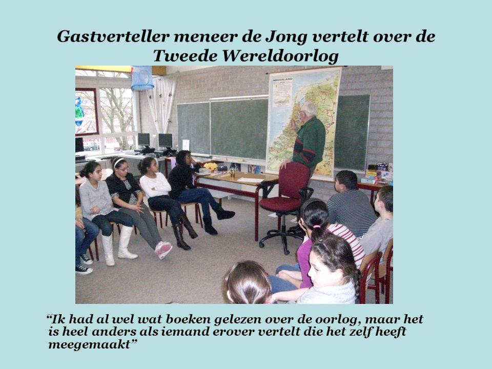 Gastverteller meneer de Jong vertelt over de Tweede Wereldoorlog Ik had al wel wat boeken gelezen over de oorlog, maar het is heel anders als iemand erover vertelt die het zelf heeft meegemaakt