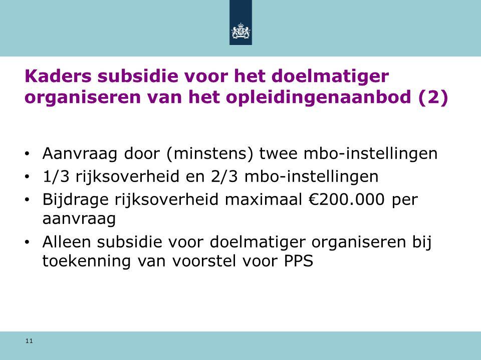 11 Kaders subsidie voor het doelmatiger organiseren van het opleidingenaanbod (2) Aanvraag door (minstens) twee mbo-instellingen 1/3 rijksoverheid en 2/3 mbo-instellingen Bijdrage rijksoverheid maximaal €200.000 per aanvraag Alleen subsidie voor doelmatiger organiseren bij toekenning van voorstel voor PPS