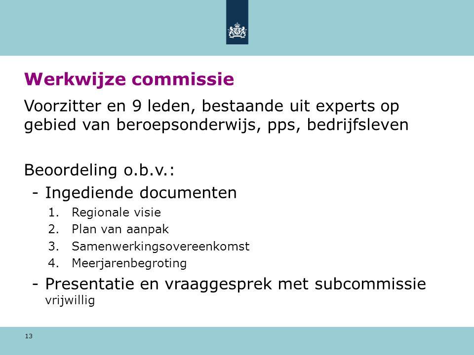 13 Werkwijze commissie Voorzitter en 9 leden, bestaande uit experts op gebied van beroepsonderwijs, pps, bedrijfsleven Beoordeling o.b.v.: -Ingediende