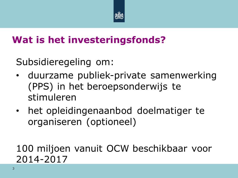 3 Wat is het investeringsfonds? Subsidieregeling om: duurzame publiek-private samenwerking (PPS) in het beroepsonderwijs te stimuleren het opleidingen