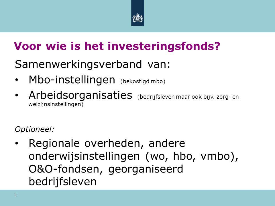 5 Voor wie is het investeringsfonds? Samenwerkingsverband van: Mbo-instellingen (bekostigd mbo) Arbeidsorganisaties (bedrijfsleven maar ook bijv. zorg