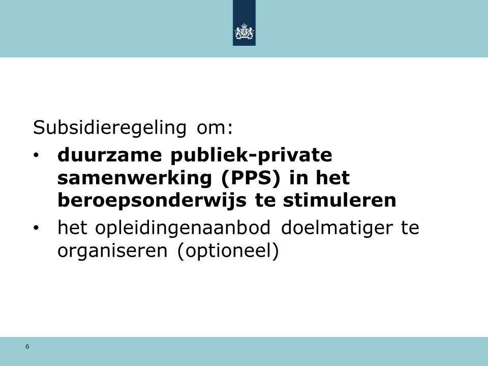 6 Subsidieregeling om: duurzame publiek-private samenwerking (PPS) in het beroepsonderwijs te stimuleren het opleidingenaanbod doelmatiger te organiseren (optioneel)
