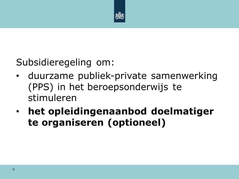 9 Subsidieregeling om: duurzame publiek-private samenwerking (PPS) in het beroepsonderwijs te stimuleren het opleidingenaanbod doelmatiger te organiseren (optioneel)