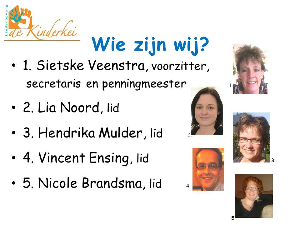 Wie zijn wij? 1. Sietske Veenstra, voorzitter, secretaris en penningmeester 1. 2. Lia Noord, lid 3. Hendrika Mulder, lid 2. 4. Vincent Ensing, lid 3.