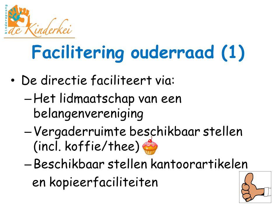Facilitering ouderraad (1) De directie faciliteert via: – Het lidmaatschap van een belangenvereniging – Vergaderruimte beschikbaar stellen (incl. koff