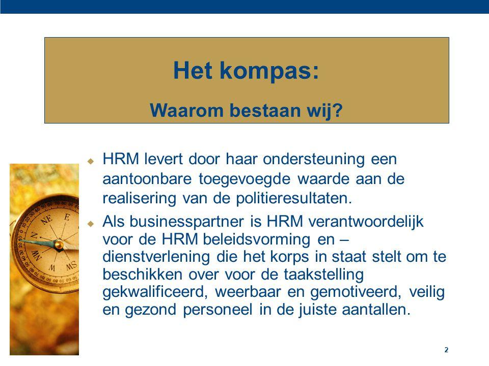 22  HRM levert door haar ondersteuning een aantoonbare toegevoegde waarde aan de realisering van de politieresultaten.  Als businesspartner is HRM v