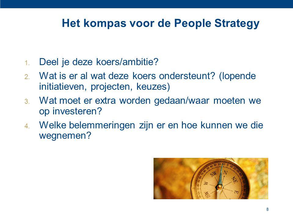 8 Het kompas voor de People Strategy 1. Deel je deze koers/ambitie? 2. Wat is er al wat deze koers ondersteunt? (lopende initiatieven, projecten, keuz