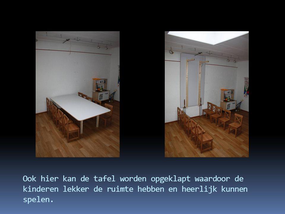 Ook hier kan de tafel worden opgeklapt waardoor de kinderen lekker de ruimte hebben en heerlijk kunnen spelen.