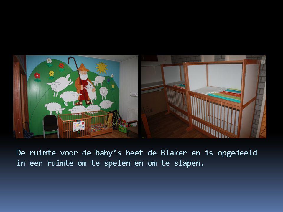 De ruimte voor de baby's heet de Blaker en is opgedeeld in een ruimte om te spelen en om te slapen.