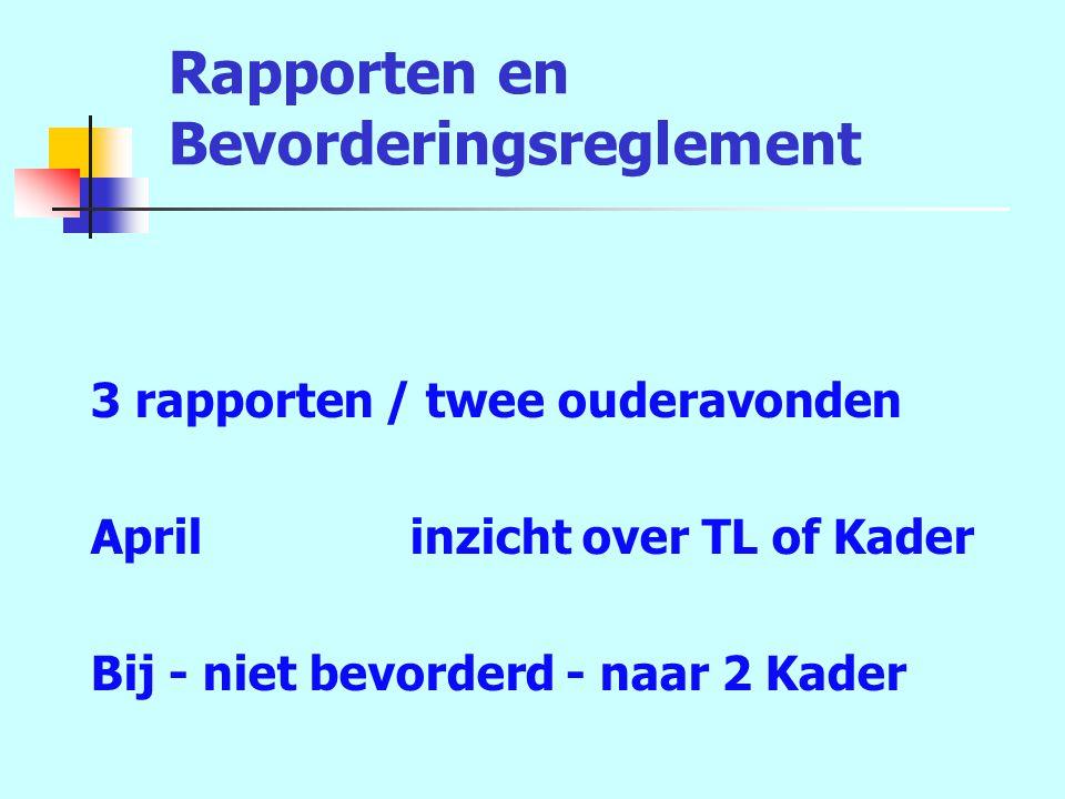 Rapporten en Bevorderingsreglement 3 rapporten / twee ouderavonden Aprilinzicht over TL of Kader Bij - niet bevorderd - naar 2 Kader