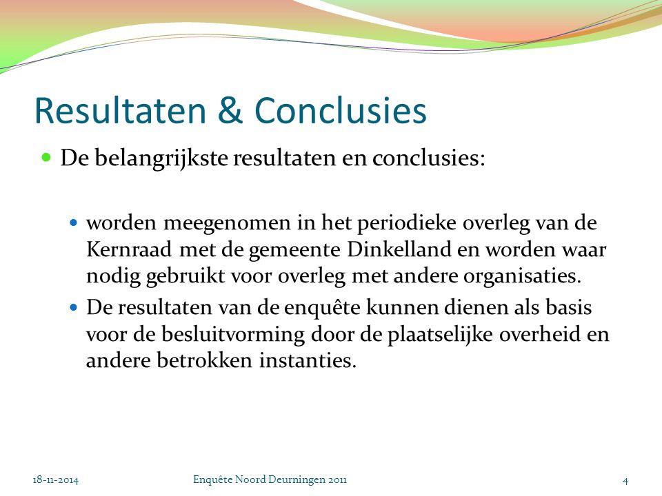 Resultaten & Conclusies De belangrijkste resultaten en conclusies: worden meegenomen in het periodieke overleg van de Kernraad met de gemeente Dinkelland en worden waar nodig gebruikt voor overleg met andere organisaties.