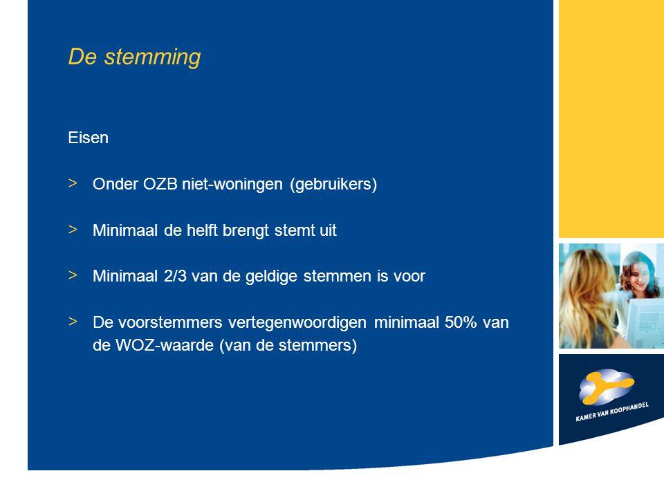 De stemming Eisen > Onder OZB niet-woningen (gebruikers) > Minimaal de helft brengt stemt uit > Minimaal 2/3 van de geldige stemmen is voor > De voorstemmers vertegenwoordigen minimaal 50% van de WOZ-waarde (van de stemmers)