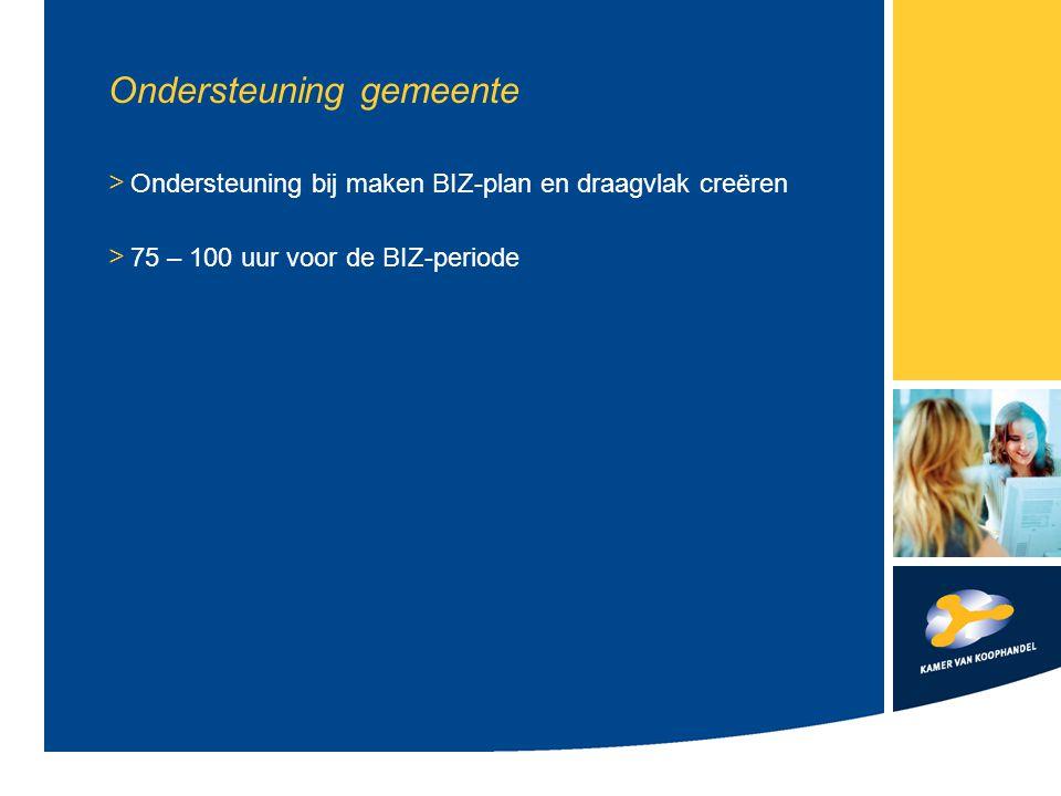 Ondersteuning gemeente > Ondersteuning bij maken BIZ-plan en draagvlak creëren > 75 – 100 uur voor de BIZ-periode