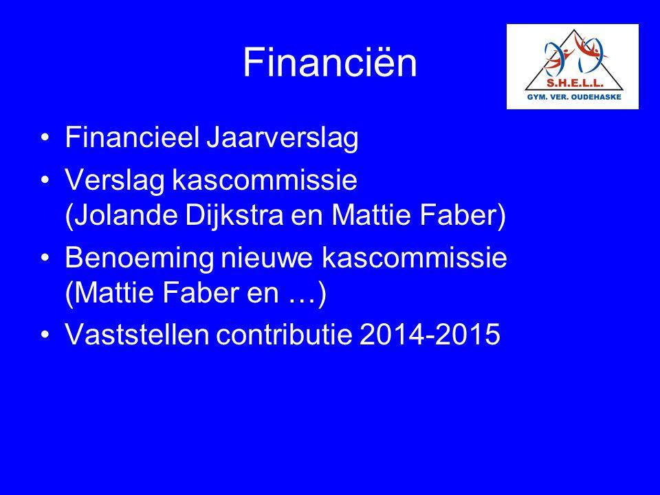 Financiën Financieel Jaarverslag Verslag kascommissie (Jolande Dijkstra en Mattie Faber) Benoeming nieuwe kascommissie (Mattie Faber en …) Vaststellen
