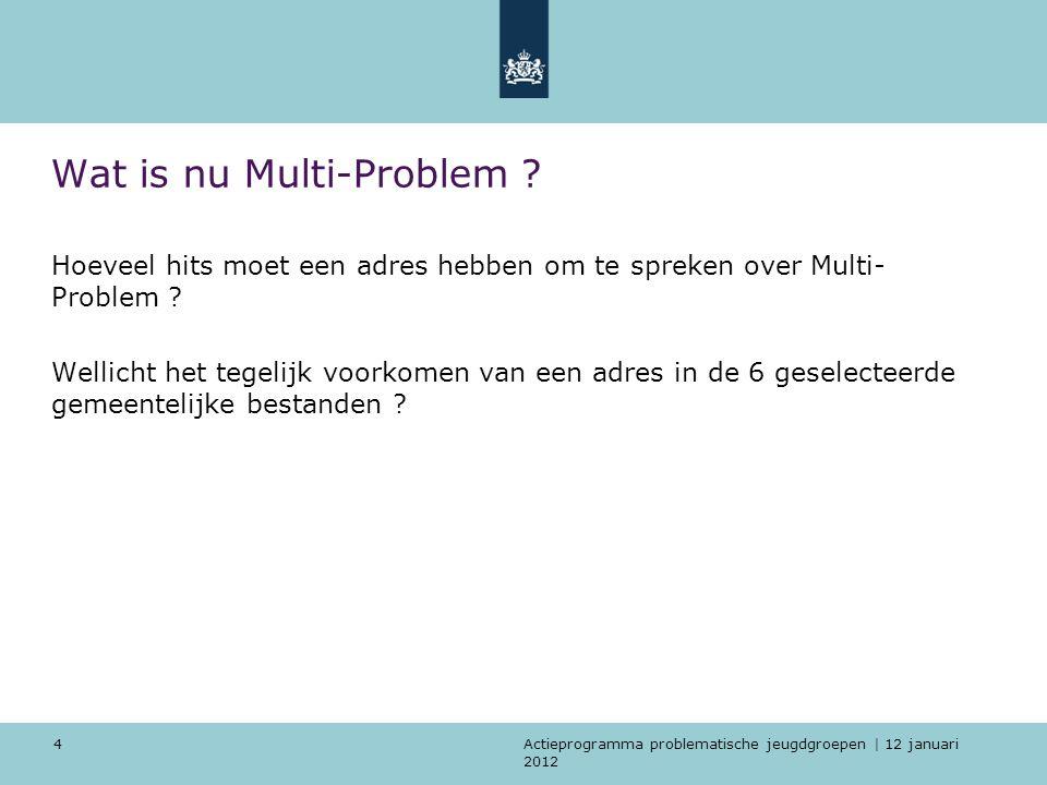 Actieprogramma problematische jeugdgroepen | 12 januari 2012 4 Wat is nu Multi-Problem .