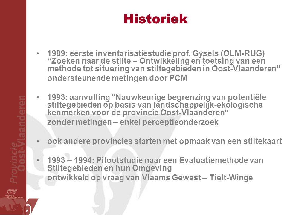 """Historiek 1989: eerste inventarisatiestudie prof. Gysels (OLM-RUG) """"Zoeken naar de stilte – Ontwikkeling en toetsing van een methode tot situering van"""