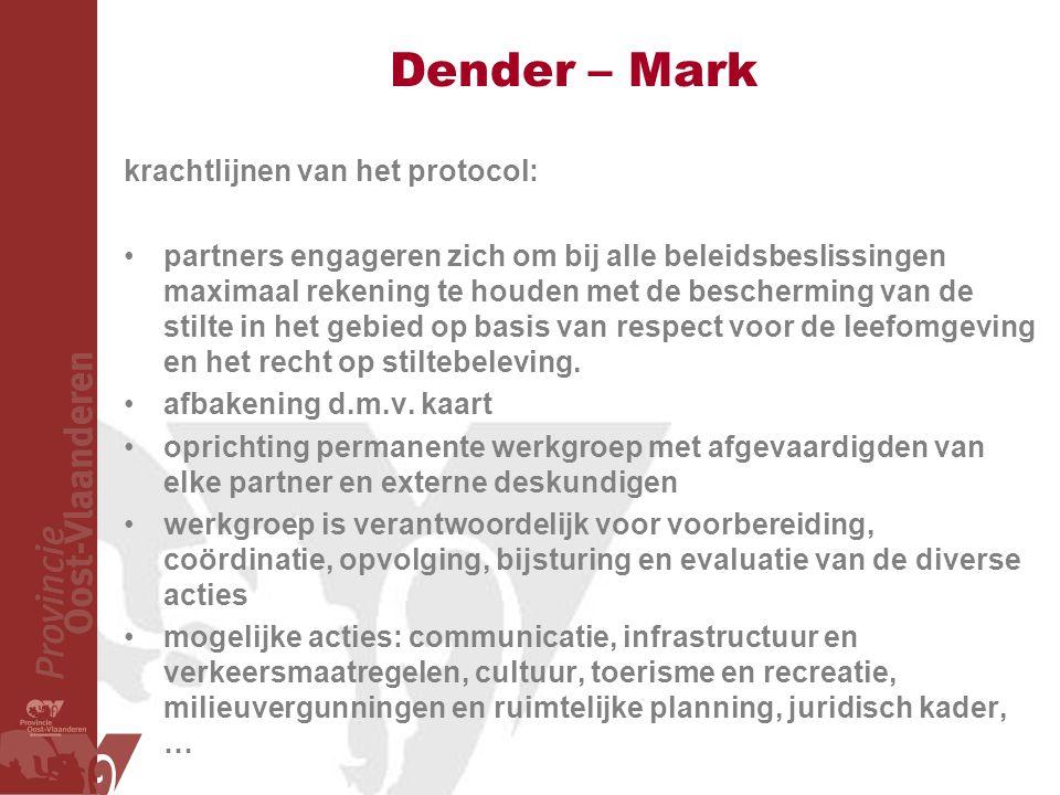 Dender – Mark krachtlijnen van het protocol: partners engageren zich om bij alle beleidsbeslissingen maximaal rekening te houden met de bescherming van de stilte in het gebied op basis van respect voor de leefomgeving en het recht op stiltebeleving.