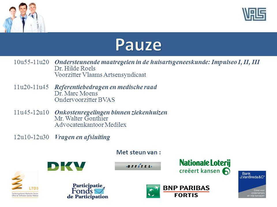 10u55-11u20Ondersteunende maatregelen in de huisartsgeneeskunde: Impulseo I, II, III Dr. Hilde Roels Voorzitter Vlaams Artsensyndicaat 11u20-11u45Refe