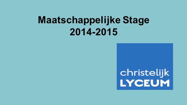 Maatschappelijke Stage 2014-2015