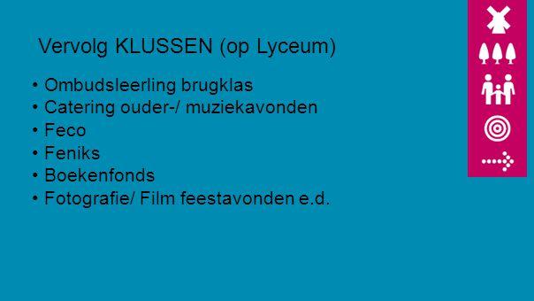 Vervolg KLUSSEN (op Lyceum) Ombudsleerling brugklas Catering ouder-/ muziekavonden Feco Feniks Boekenfonds Fotografie/ Film feestavonden e.d.