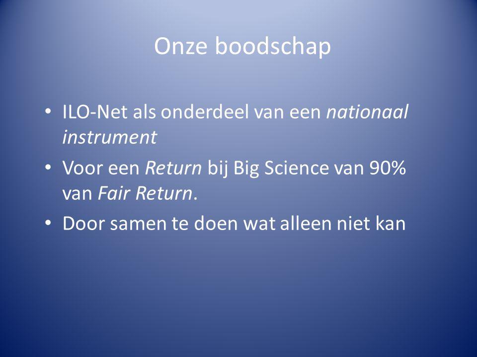 Onze boodschap ILO-Net als onderdeel van een nationaal instrument Voor een Return bij Big Science van 90% van Fair Return.