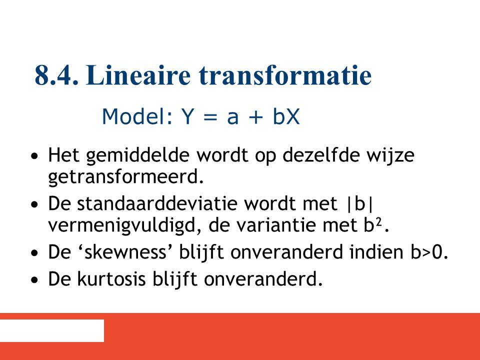 Het gemiddelde wordt op dezelfde wijze getransformeerd. De standaarddeviatie wordt met |b| vermenigvuldigd, de variantie met b². De 'skewness' blijft