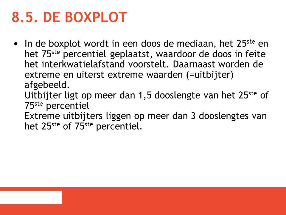 8.5. DE BOXPLOT In de boxplot wordt in een doos de mediaan, het 25 ste en het 75 ste percentiel geplaatst, waardoor de doos in feite het interkwatiela