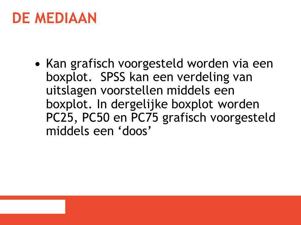 DE MEDIAAN Kan grafisch voorgesteld worden via een boxplot. SPSS kan een verdeling van uitslagen voorstellen middels een boxplot. In dergelijke boxplo
