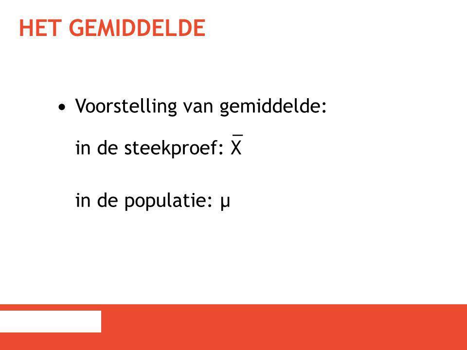 HET GEMIDDELDE Voorstelling van gemiddelde: _ in de steekproef: X in de populatie: µ