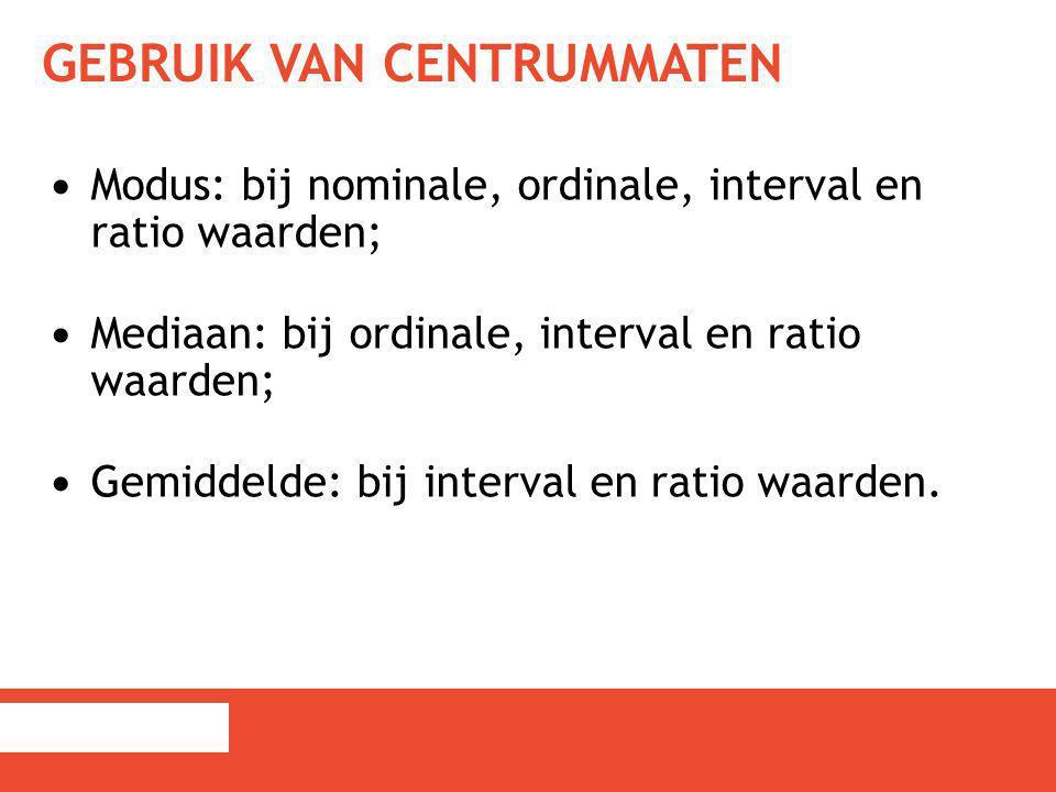 GEBRUIK VAN CENTRUMMATEN Modus: bij nominale, ordinale, interval en ratio waarden; Mediaan: bij ordinale, interval en ratio waarden; Gemiddelde: bij i