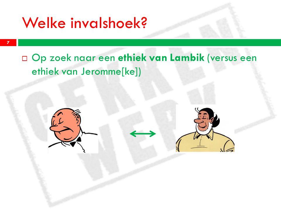 Welke invalshoek?  Op zoek naar een ethiek van Lambik (versus een ethiek van Jeromme[ke]) 7