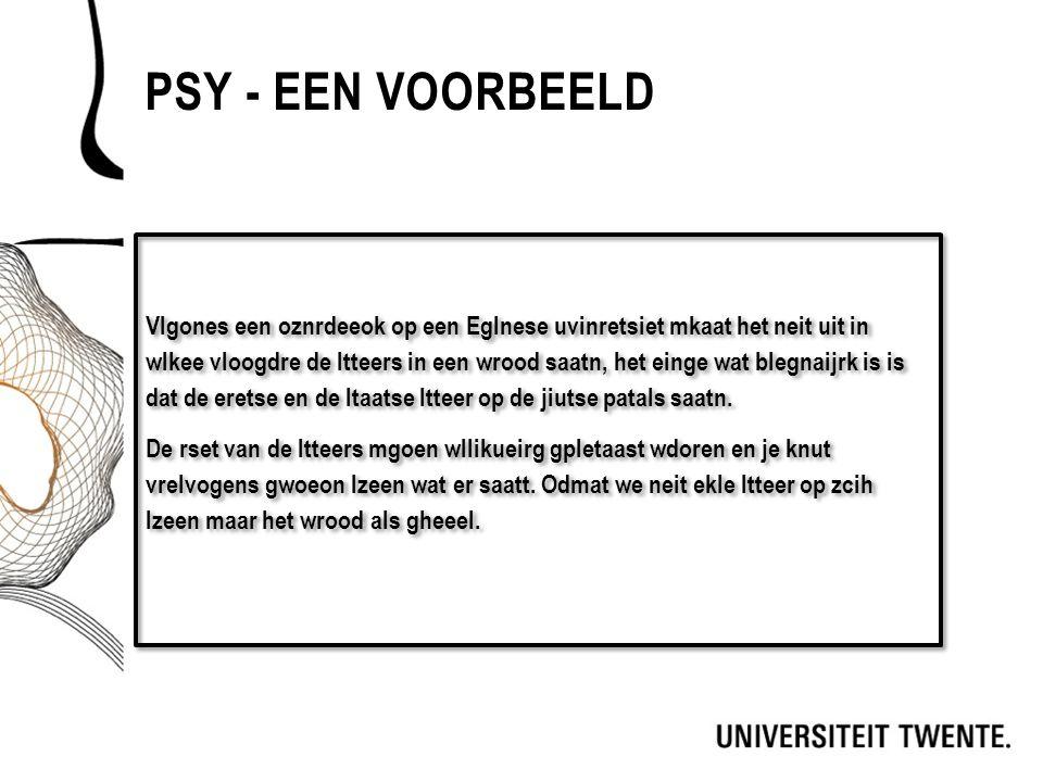PSY - EEN VOORBEELD Vlgones een oznrdeeok op een Eglnese uvinretsiet mkaat het neit uit in wlkee vloogdre de ltteers in een wrood saatn, het einge wat