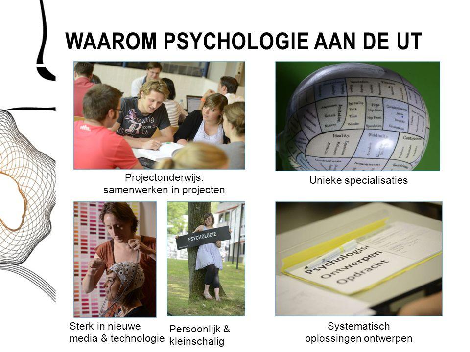 WAAROM PSYCHOLOGIE AAN DE UT Unieke specialisaties Sterk in nieuwe media & technologie Projectonderwijs: samenwerken in projecten Systematisch oplossi