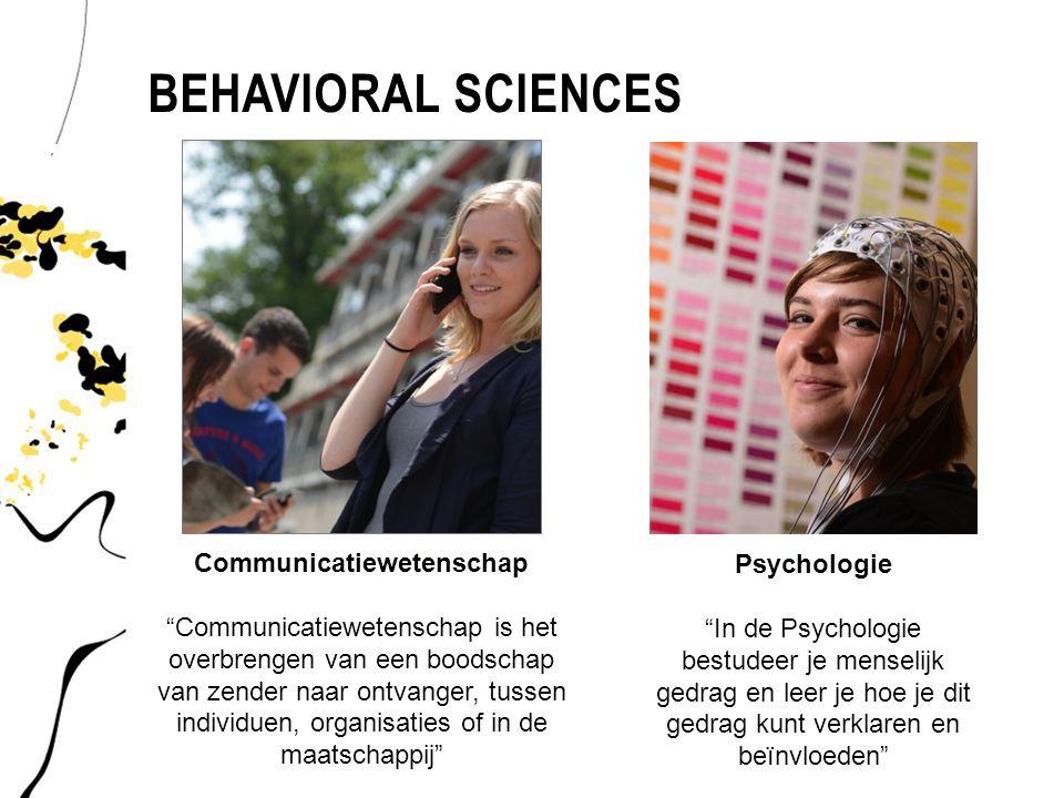"""BEHAVIORAL SCIENCES Communicatiewetenschap """"Communicatiewetenschap is het overbrengen van een boodschap van zender naar ontvanger, tussen individuen,"""
