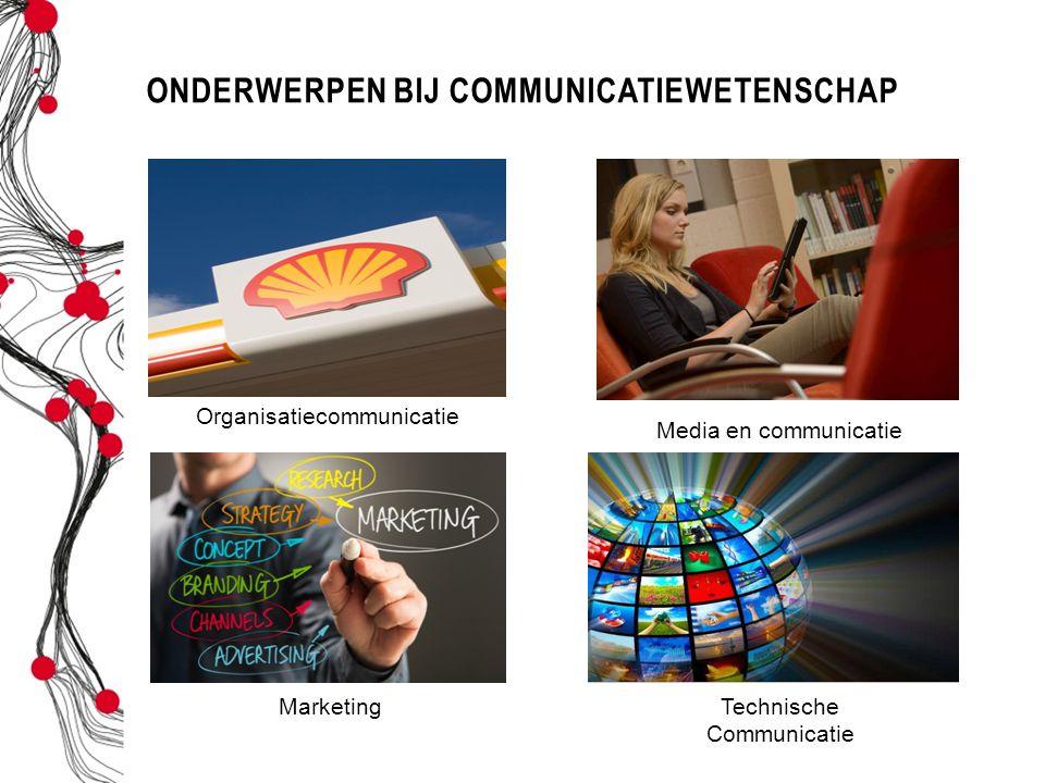 ONDERWERPEN BIJ COMMUNICATIEWETENSCHAP Organisatiecommunicatie Media en communicatie MarketingTechnische Communicatie