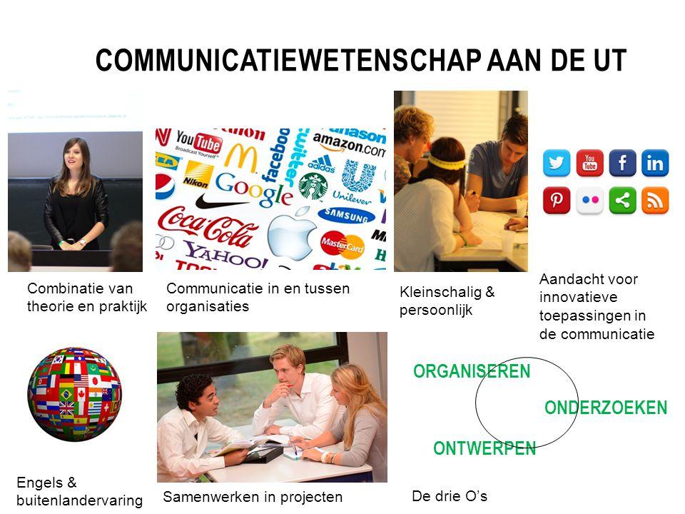COMMUNICATIEWETENSCHAP AAN DE UT Combinatie van theorie en praktijk Samenwerken in projecten Communicatie in en tussen organisaties Aandacht voor inno