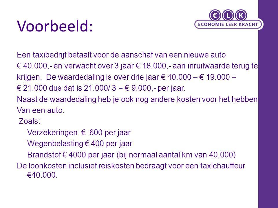 Voorbeeld: Een taxibedrijf betaalt voor de aanschaf van een nieuwe auto € 40.000,- en verwacht over 3 jaar € 18.000,- aan inruilwaarde terug te krijge