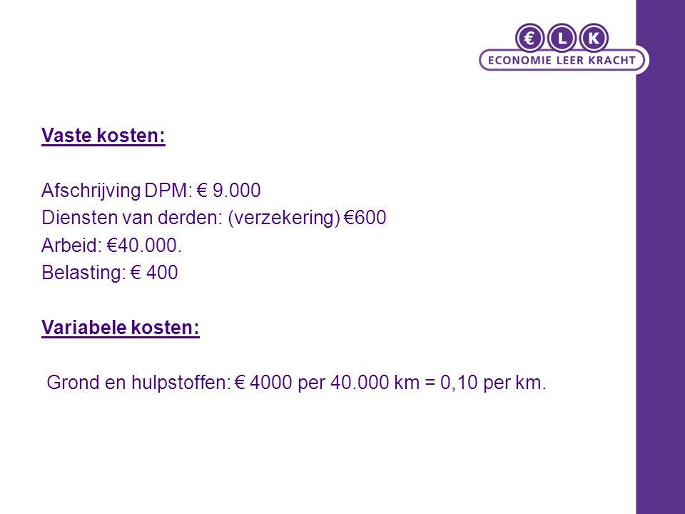 Vaste kosten: Afschrijving DPM: € 9.000 Diensten van derden: (verzekering) €600 Arbeid: €40.000. Belasting: € 400 Variabele kosten: Grond en hulpstoff