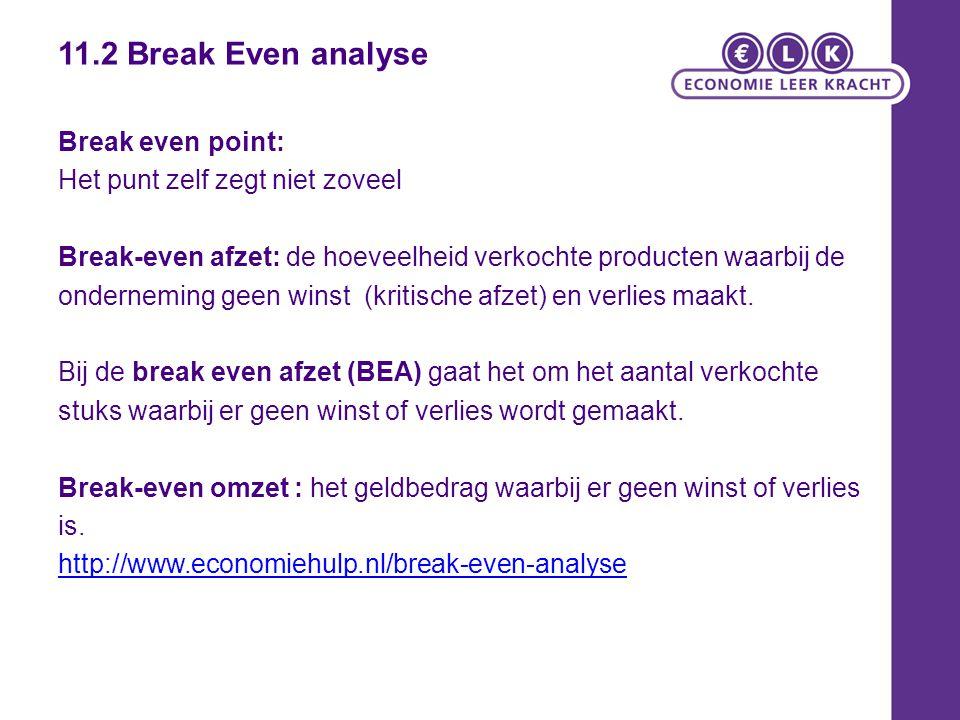 11.2 Break Even analyse Break even point: Het punt zelf zegt niet zoveel Break-even afzet: de hoeveelheid verkochte producten waarbij de onderneming g