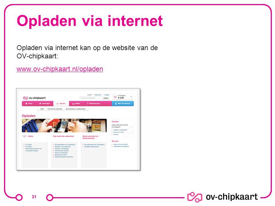 Opladen via internet Opladen via internet kan op de website van de OV-chipkaart: www.ov-chipkaart.nl/opladen 31