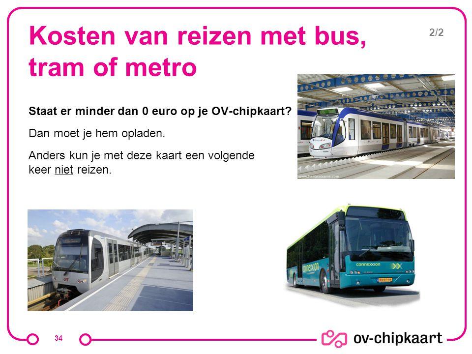 Kosten van reizen met bus, tram of metro Staat er minder dan 0 euro op je OV-chipkaart? Dan moet je hem opladen. Anders kun je met deze kaart een volg