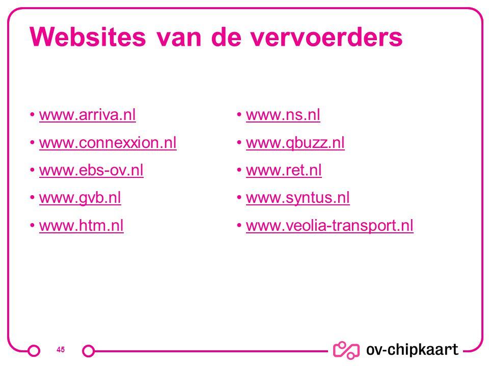 Websites van de vervoerders www.arriva.nl www.connexxion.nl www.ebs-ov.nl www.gvb.nl www.htm.nl www.ns.nl www.qbuzz.nl www.ret.nl www.syntus.nl www.ve