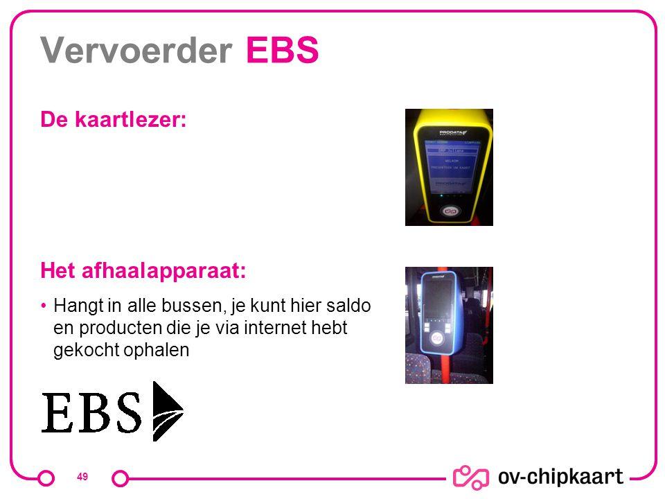 Vervoerder EBS De kaartlezer: Het afhaalapparaat: Hangt in alle bussen, je kunt hier saldo en producten die je via internet hebt gekocht ophalen 49