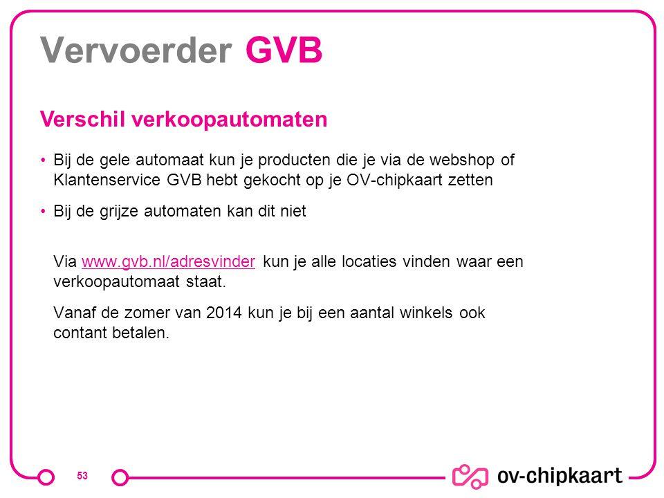Vervoerder GVB Bij de gele automaat kun je producten die je via de webshop of Klantenservice GVB hebt gekocht op je OV-chipkaart zetten Bij de grijze