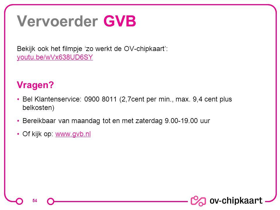 Vervoerder GVB Bekijk ook het filmpje 'zo werkt de OV-chipkaart': youtu.be/wVx638UD6SY youtu.be/wVx638UD6SY Vragen? Bel Klantenservice: 0900 8011 (2,7