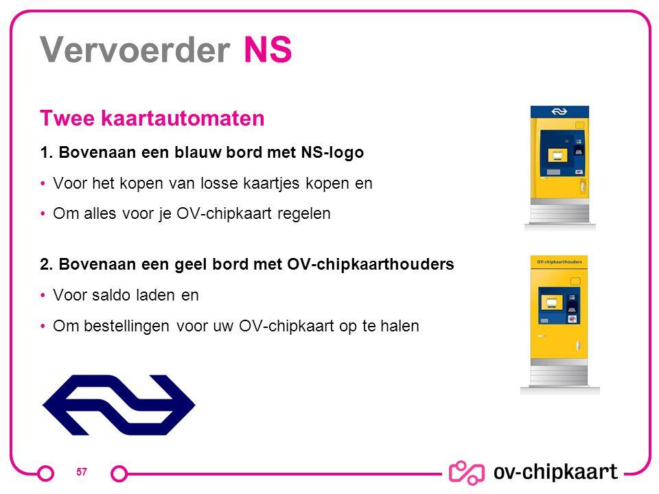 Vervoerder NS Twee kaartautomaten 1. Bovenaan een blauw bord met NS-logo Voor het kopen van losse kaartjes kopen en Om alles voor je OV-chipkaart rege