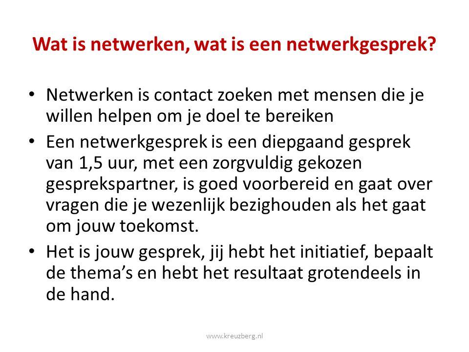 Wat is netwerken, wat is een netwerkgesprek? Netwerken is contact zoeken met mensen die je willen helpen om je doel te bereiken Een netwerkgesprek is