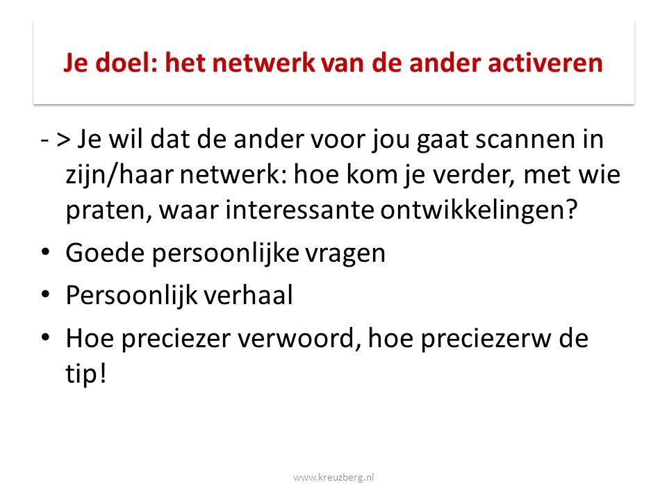 Je doel: het netwerk van de ander activeren - > Je wil dat de ander voor jou gaat scannen in zijn/haar netwerk: hoe kom je verder, met wie praten, waa